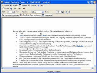 Betrachter für PostScript Dateien. Konvertierung in PDF, Text und Word.