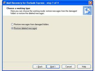 Stellt beschädigte und gelöschte Dateien in Outlook Express wieder her