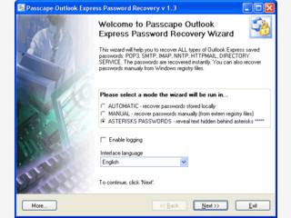 Passwörter von MS Outlook Express Konten wiederherstellen.