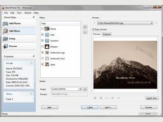 Automatische Verarbeitung von Bildern mit Filtern, Effekten und Größenänderungen