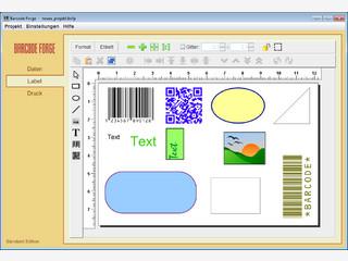 Einzel- und Seriendruck von Barcode-Etiketten mit frei gestaltbarem Layout.