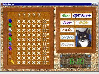 Mastermind-Clone mit gerenderter Grafik. Als Hintergrund dient eine Pinnwand.