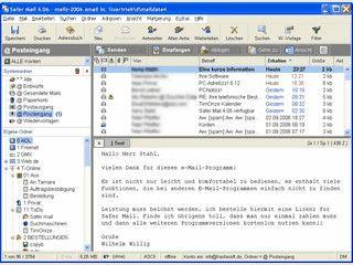 Emailclient mit Sicherheitsfunktionen zum Schutz vor gefährlichen Anhängen.