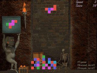 Drei nicht sehr einfache Tetris Varianten in gruseliger Umgebung.