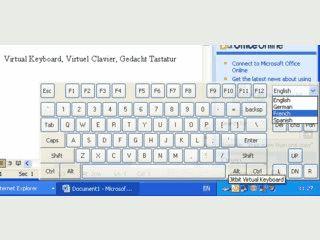 Virtuelle Bildschirmtastatur die mit der Maus bedient werden kann.