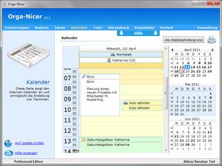 Terminplanung mit Tages-, Wochen-, Monats- und Jahresansicht.