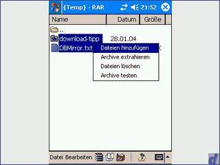 RAR und ZIP Archive auf dem Pocket PC erstellen und entpacken.