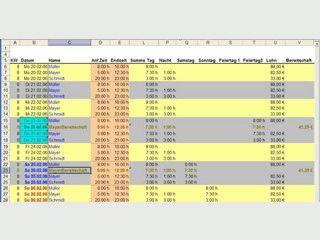 Erzeugt Excel-Mappen als Vorlage für Dienstpläne mit Zeitberechnungen.