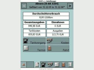 Komplette Fahrzeugverwaltung mit Benzinverbrauchberechnung für den PDA