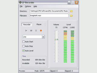 Speziell auf die Aufnahme von Schallplatten ausgelegte Recorder-Software.