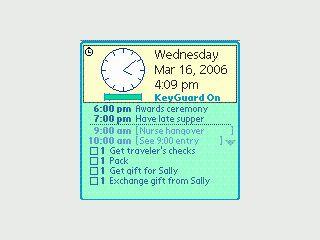 Zeigt Ihnen sofort beim Einschalten eine Übersicht mit Zeit, Datum Terminen usw.