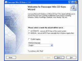 Liest die Produktschlüssel für Microsoft Programme aus der Registry aus.