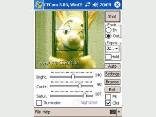 Software für PDAs mit Kamera für eine bessere Aufnahmequalität.