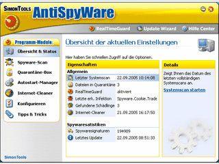 SimonTools AntiSpyWare bietet Schutz vor über 280.000 Bedrohungen