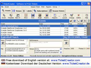 Software zum Drucken von Eintrittskarten für beliebig konfigurierbare Räume.