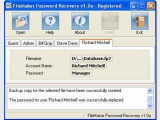 Passwort-Wiederherstellung für Filemaker Datenbanken.