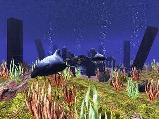 Delphine in einer 3D gerenderten Unterwasserwelt.