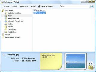 Passwort- und Datensafe mit TAN-Verwaltung.