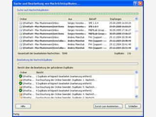 Sucht und bearbeitet Duplikate von E-Mails in Microsoft-Outlook-Ordnern.