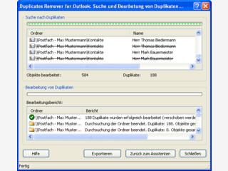 Löscht Duplikate von Objekten in Ordnern von Outlook auf Exchange Server.