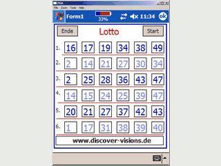 Erstellt 6 Reihen mit zufälligen Lottozahlen.