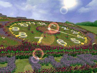 Eine Wiese zeigt die Uhrzeit und das Datum als Blumen an.