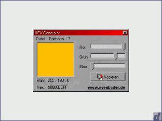 Erstellt den HEX-Wert einer ausgewählten Farbe für  C/C++, Delphi, HTML, Basic