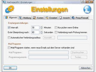 Email-Konten auf neue Emails prüfen. Optional mit automatischer Einwahl.