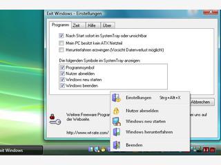 Beenden oder starten Sie Windows über Symbole neben der Uhr.