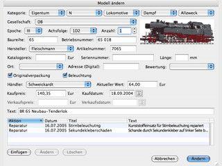 Software zur Erfassung und Verwaltung einer Modellbahnsammlung.