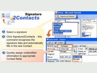 Persönliche Daten aus Email-Signaturen in MS Outlook Kontake umwandeln.