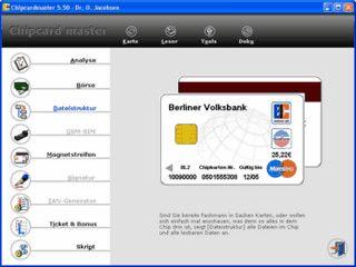 Analysesystem fuer GeldKarte, ec-Karte, MiniCash, Kranken- sowie Telefonkarten.