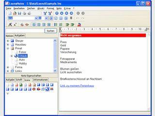 Verwaltung für beliebige Notizen und Informationen in einer Baumstruktur.