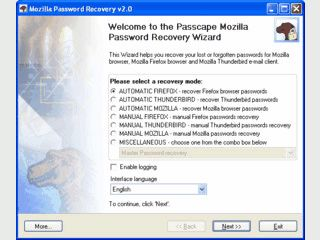 Password Recovery für Mozilla, Mozilla Firefox und Mozilla Thunderbird.