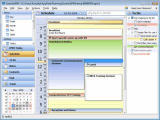 Personal Information Manager für USB-Sticks zur Verwaltung von Kontakten usw.
