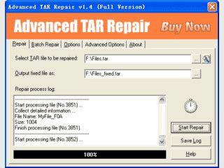 Werkzeug zur Reparatur von Archiven im Format TAR.