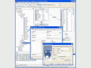 Visueller Datenbankdesigner für PostgreSQL.