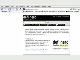 Toolbar zur Übersetzung und Recherche für beliebige Begriffe.