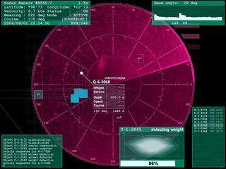 Bildschirmschoner der ein Sonar-Gerät simuliert.