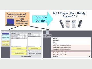 Wandelt Text in gesprochene MP3 oder WAV Dateien um.