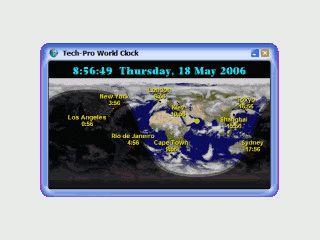 Weltzeituhr auf einer Weltkarte als Desktop-Hintergrundbild.