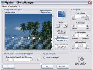 Bildschirmschoner der die Wasserflächen von beliebigen Bildern animiert.