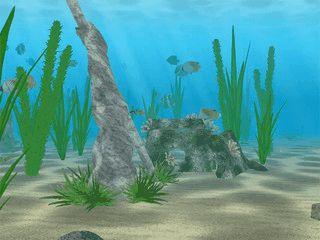 Eine animierte Unterwasserwelt als Bildschirmschoner.