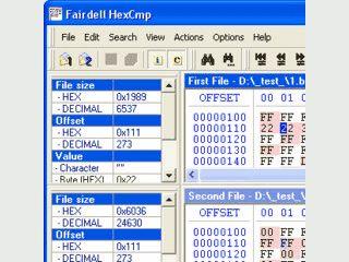 HEX-Editor mit Vergleichsfunktion für Binär-Dateien.