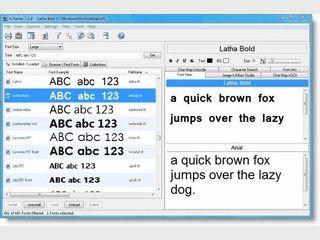 Übersichtlicher Betrachter und Manager für True-Type, Opentype, Postscript Fonts