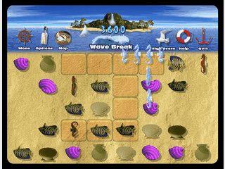 Vier Denkspiele mit Muscheln und anderen Meeres-Symbolen.