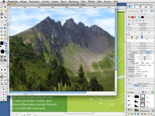 Bildbearbeitung mit Layoutfunktionen und Unterstützung von Vektorgrafiken.