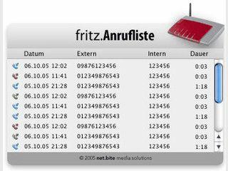 Widget, das die letzten Anrufe und Anrufer der Fritz!Box Fon Wlan anzeigt.