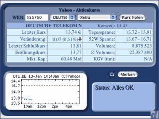 Widget, das Ihnen die Kurse von Aktien deutscher Börsen via WKN-Nummer anzeigt.