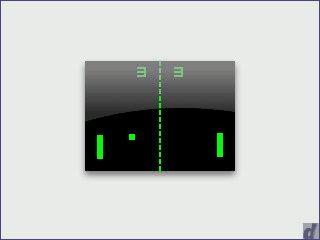 Widget, das in einem selbstspielenden Pong-Spiel die Uhrzeit anzeigt.
